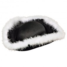 Hat Pirate Black Felt with white fur