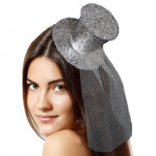 Tiara with Top Hat Glitter Silver