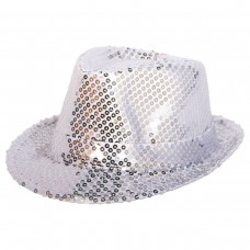 Trilby Hat Sequin Deluxe Silver