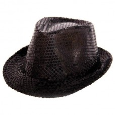 Trilby Hat Sequin Deluxe Black