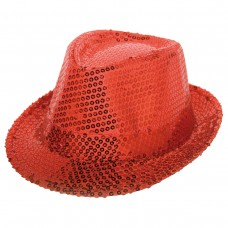 Trilby Hat Sequin Deluxe Red