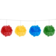 Decoration Pompom Garland 12cm Assorted