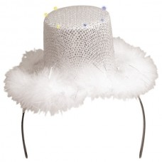 Tiara Sequin Silver Hat with White Fur