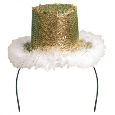 Tiara Sequin Gold Hat with White Fur