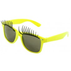 Party Glasses with Eyelashes Neon Yellow