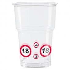 Traffic Sign 18th Party Cups 10's