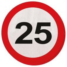Traffic Sign 25th Party Napkins 20's