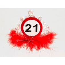 Traffic Sign 21st Tiara with Feathers