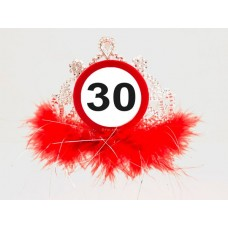 Traffic Sign 30th Tiara with Feathers