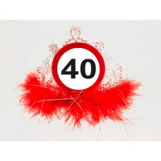Traffic Sign 40th Tiara with Feathers