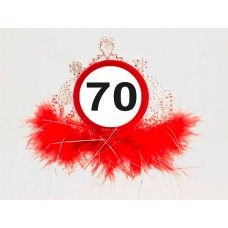 Traffic Sign 70th Tiara with Feathers