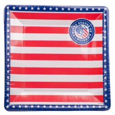 USA Party Plates 25cm square 8's