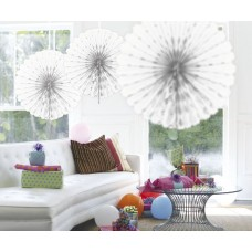 Honeycomb Paper Fan White 45cm