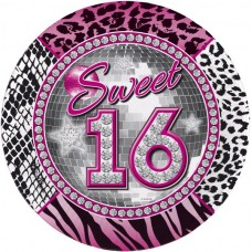 Sweet 16th Party Plates 23cm 8s