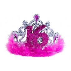 Sweet 16th Tiara with Pink Feathers