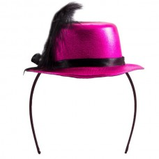 Tiara with Hat Metallic Cerise