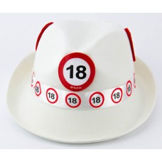 Traffic Sign 18th White Trilby Hat