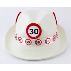 Traffic Sign 30th White Trilby Hat