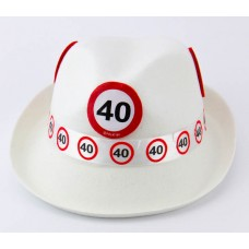 Traffic Sign 40th White Trilby Hat