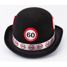 Traffic Sign 60th Black Bowler Hat
