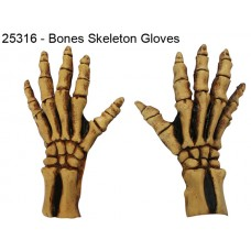 Hands Gloves Skeleton Bone Tan Large