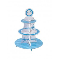 Cake Stand Dots Blue 3 Tiers Round