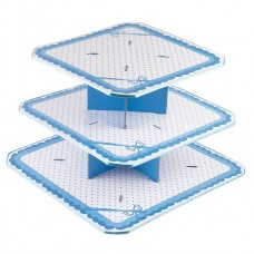 Cake Stand Dots Blue 3 Tiers Large
