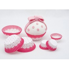 Cup Cake Cases Pink & White Small 3 x 2
