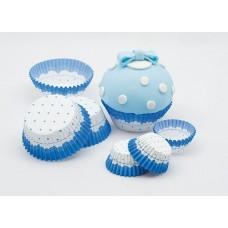 Cup Cake Cases Blue & White Large 75's