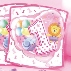 Baby Girl Plates Square Age 1 24cm 10's