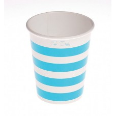 Party Cups Stripe Card 250cc Blue 10's