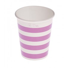 Party Cups Stripe Card 250cc Purple 10's