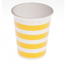 Party Cups Stripe Card 250cc Yellow 10's