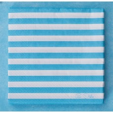 Party Napkins Stripe 3ply 33 x 33cm Blue