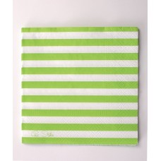 Party Napkins Stripe 3ply 33 x 33cm Gree