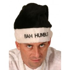 Bah Humbug Hat Black & White Velvet