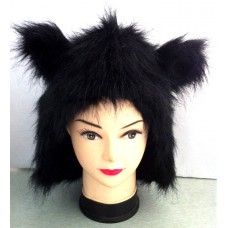 Hair Animal Hood with Black Fur