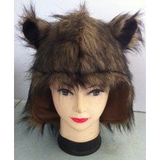 Hair Animal Hood with Brown & Ears