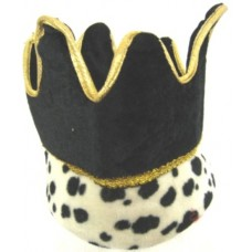 Crown Hat with Ermine Cuff Black