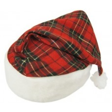 Burns Night Red Tartan Hat Fur Trim