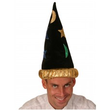 Wizard Hat Black with Gold Band & colour