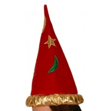 Hat Wizard Red with Gold Band & Col Patc