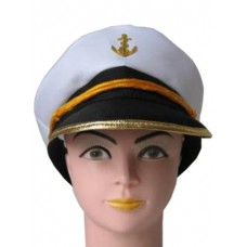 Captain Hat with Gold Rim Trim and Ancr