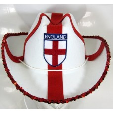 England Football Cowboy Hat with Sequins
