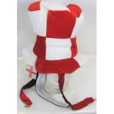 Hat Top with Tails & Bells Red & White