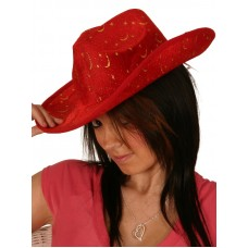 Cowboy Hat Red with Gold Glitter