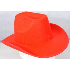 Cowboy Hat Plain Red with Stiff Felt