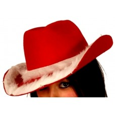 Cowboy Hat Red with White plush Trims