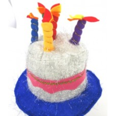 Hat Birthday Cake with Candles Sil Blue