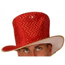 Hat Top Metallic Gold sequins on Red